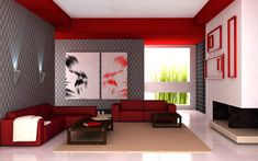 modern living room decors gray wallpaper design painted wall art decoration living room red leather sectional sofa for furniture living room living room paint colors bedroom paint colors schemes decor Colourful Living Room, Living Room Red, Living Room Color Schemes, Interior Design Living Room, Modern Interior, Living Room Designs, Interior Designing, Bedroom Designs, Bedroom Ideas
