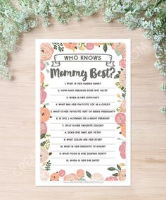 Who Knows Mommy Best Baby Shower Game - Vintage Rose - Baby Shower Game - Who…