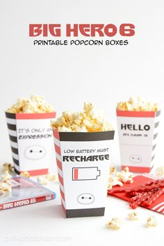 Big Hero 6 Printable popcorn boxes! The kids loved this movie and these popcorn treats.