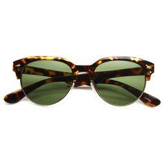 193ea9f01c Vintage European Dapper Half Frame Round Horned Rim Sunglasses 8819
