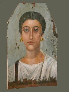 Roman period mummy painting of a noblewoman. Painting in the Brooklyn Museum. Encaustic on wood Egypt, ca. 150 C.E. Roman Period Dimensions:...