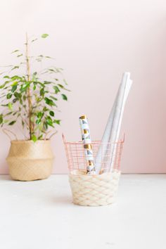 DIY Wool Woven Paper Basket by Fall For DIY