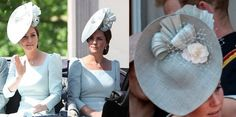 Duchess of Cambridge Juliette Botterill hat trooping the colour 2018 Prince William And Kate, William Kate, Prince Charles, Kate Middleton Queen, Kate Middleton Style, Duchess Of Cornwall, Duchess Of Cambridge, Trooping The Colour 2018, Ice Blue Dress