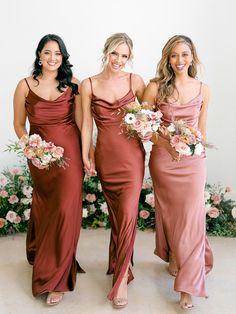 Satin Bridesmaid Dresses, Satin Dresses, Wedding Bridesmaids, Wedding Goals, Fall Wedding, Wedding Colors, Wedding Styles, Dream Wedding Dresses, Maid Of Honor