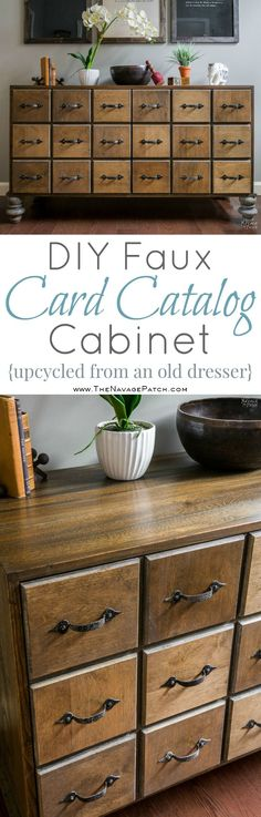DIY Faux Card Catalog Cabinet {Apothecary Cabinet}| Upcycled mid century cabinet to a faux apothecary cabinet | DIY mid century cabinet makeover | How to DIY bun feet | How to mix stains to get a rustic look | Step-by-step faux card catalog cabinet tutorial | Easy and budget friendly home decor and furniture | Simple woodworking | Before & After | TheNavagePatch.com