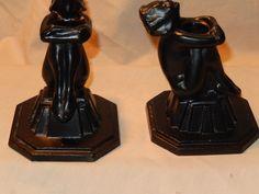 Art Deco Period Original FRANKART Nude Lady Pair Candle Holders Spectacular | eBay