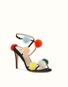 FENDI SANDALS - Black suede sandals with pompoms - view 2 detail