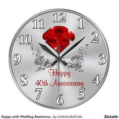 """Happy 40th Wedding Anniversary Gifts CLOCK, Style: Round (Large) It's time to show off your favorite art, photos, and text with a custom round wall clock from Zazzle. Featured in two sizes, this wall clock is vibrantly printed with AcryliPrint®HD process to ensure the highest quality display of any content. Order this custom round wall clock for your walls or give to friends and family as a gift for a timeless treasure.  2 sizes: 8"""" diameter (medium) or 10.75"""" diameter (large). Material: Gra"""
