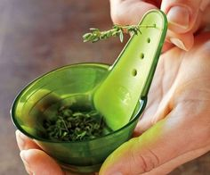 Simplify the tedious chore of de-leafing herbs by making it a quick and easy task using the herb stripper...