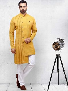 Your place to buy and sell all things handmade - Stylish Hot yellow Color Pathani Suit kurta suit for mens Wedding Kurta For Men, Wedding Dresses Men Indian, Wedding Dress Men, Wedding Outfits, Punjabi Wedding, Indian Weddings, Wedding Attire, Wedding Couples, Wedding Ideas