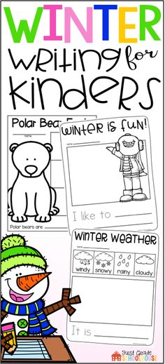 Winter Writing for Kindergarten is the perfect packet to engage your students in a variety of winter writing activities, a snowman craft, and booklets. Students write about the winter season, snowmen, penguins, polar bears, hot chocolate, winter weather and clothing, respond to winter literature, winter sports, and more.