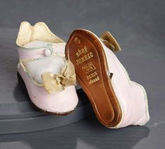 """""""What Finespun Threads"""" - Antique Doll Costumes, 1840-1925 - March 12, 2017: 228 Kidskin Shoes for Bebe Jumeau, Size 6"""