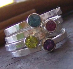 Faceted gem stone stacking rings fine and by cinnamonsticks, $34.00