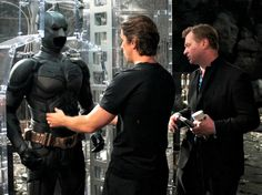 BTS of TDKR: Christopher Nolan and Christian Bale with the Batsuit