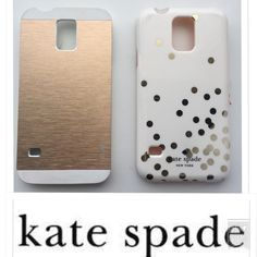 Kate Spade Phone Case Bundle Includes two phone cases for Samsung Galaxy S 5. One is cream + gold Kate Spade 'Confetti.' The other has gold-toned, brushed metal. The Kate spade has some slight surface wear/scratching (shown.) kate spade Accessories Phone Cases