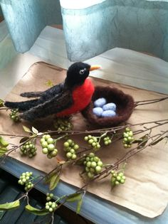 This is my needle felted Robin.