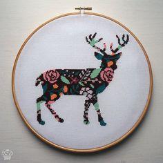 Floral Deer Cross Stitch Pattern PDF  Instant by VelvetPonyDesign