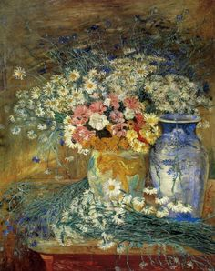 "dappledwithshadow:  "" Flowers with Chinese Vases, James Ensor  1896  """