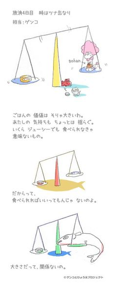 「Wandering diary in downtown Tokyo vol.81 Genko's theory of canned juicy tuna Part 2」 The value of the daily food is very big. Some my feelings to vacillate. Even if it was juicy, there is not meaning if not edible. But everything is not all right if edible. The size does not matter there, too.        #genko #hyouta #cat