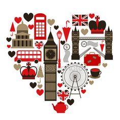 Símbolo del corazón amor Londres con iconos sistema aislado vector illustration