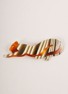 Lea Stein Green, Cream, and Brown Acetate Striped Stretching Cat Brooch Frontview