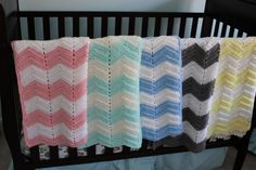 Chevron baby blankets. I love crochet because it's so breathable. www.clelliedivine.etsy.com