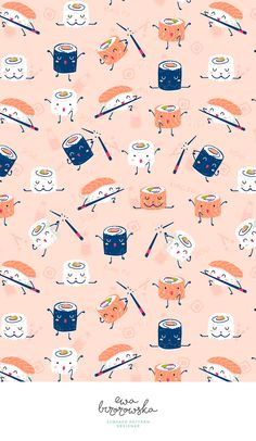 Kawaii kung-fu sushi pattern design in coral color palette with a touch of navy. Plain Wallpaper Iphone, Kawaii Wallpaper, Wallpaper Backgrounds, Cartoon Wallpaper, Cool Wallpapers For Phones, Cute Wallpapers, Coral Colour Palette, Coral Color, Surface Pattern Design