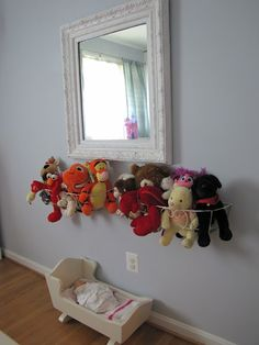 Stuffed animal storage....use planters with the liner removed.