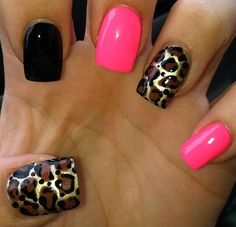 Pink, Black, And Leopard Nails. Would rather blue over pink but I love it. Get Nails, Fancy Nails, Love Nails, Pink Nails, Black Nails, Fabulous Nails, Gorgeous Nails, Pretty Nails, Nailed It