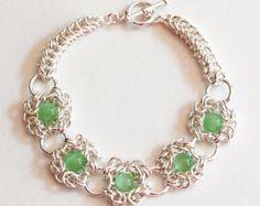 Green Beaded Romanov and Persian Weave Chainmaille Bracelet - Romanov Chainmaille Bracelet - Persian Weave Chainmail Bracelet -Ready to Ship