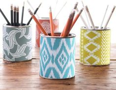 Pen holder,decoupage cans.  I love to do this for my craft desk and supplies.