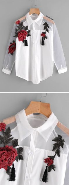 Appliques Tassel Detail Shirt With Sheer Mesh Panel. Two colors available. by misty Cool Outfits, Casual Outfits, Fashion Outfits, Womens Fashion, Fashion Trends, Latest Fashion, Diy Clothes, Clothes For Women, Diy Vetement