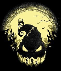 """Jack's Nightmare"" is a nightmare of a silhouette featuring your favorite characters from Halloween Town. A Nightmare Before Christmas art by Harantula."