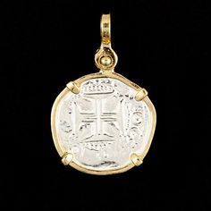 """Atocha Cross of the Crusades Silver Coin Pendant Item Number - ST-8007 Frame - 14K Gold Overlay Thin Wrap with Prongs Dimensions - 3/4"""" diameter (the pendant is about the size of a nickel) Weight - 3."""