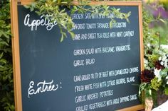 chalkboard menu...rustic, but simple. great for the daughter of a teacher too.
