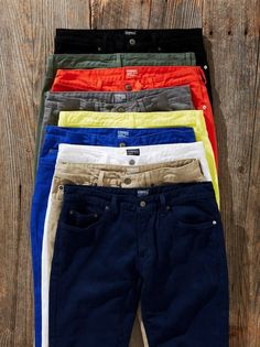 array of colored chinos