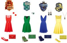 """""""Hogwarts Houses"""" by amandacostamello on Polyvore"""