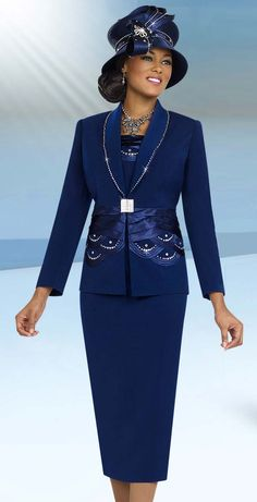 Fifth Sunday 52835-Navy Satin Embellished Two Piece Skirt Suit With Shawl Lapel