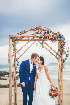 Elegant + Colorful Beach Wedding – Style Me Pretty