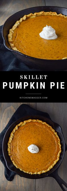 Classic pumpkin pie made in a cast iron skillet. Classic pumpkin pie recipe made in a cast iron skillet. Rich pumpkin on a soft crust with a dollop of delicious whipped cream. Cast Iron Skillet Cooking, Iron Skillet Recipes, Cast Iron Recipes, Skillet Food, Cooking With Cast Iron, Cast Iron Pizza Recipe, Skillet Cake, Skillet Dinners, Pumpkin Recipes