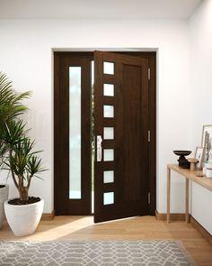 Mid Century 1 Panel Contemporary Modern 7 Lite One Sidelite Mahogany Exterior or Interior Single Door Doors, Single Doors, Easy Home Decor, Modern Contemporary, Interior, Contemporary Doors, Beautiful Front Doors, Doors Interior, Trendy Door