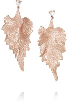 Ana Khouri | Leaf 18-karat rose gold diamond earrings | NET-A-PORTER.COM