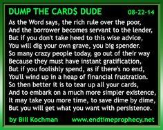 Poetry - Bible-based Christian Poem by Bill Kochman: Dump the Cards$ Dude