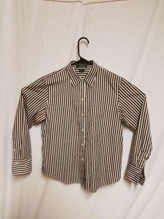 0b43a63d Lauren Ralph Lauren Women's Button Down Shirts Large (L) Brown and White  Striped #