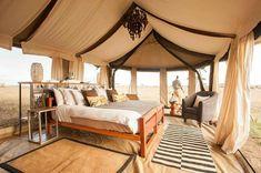 Open air safari glamping tent