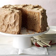 Chocolate Angel Cake Recipe -When I was married in 1944, I could barely boil water. My dear mother-in-law taught me her specialty - making the lightest angel food cakes ever. This chocolate version is an easy, impressive treat. For many years, it was our son's birthday cake.—Joyce Shiffler, Colorado Springs, Colorado