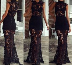 Short-Sleeved Lace Dress Sexy Dress