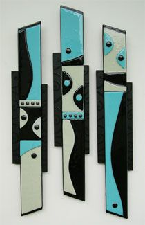 Trendy wall art. Trio abstract glass fusing pieces. @ Ellinwood Studios