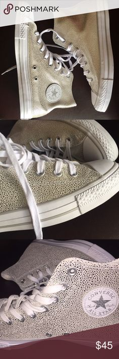|| sale || Silver Converse high tops Brand new without tags! Never worn outside, only tried on inside the house. Look super cute with jeans or even a skirt. Last two photos show true color. Converse Shoes Sneakers