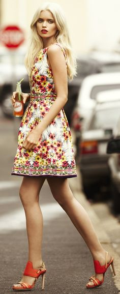 Floral at KG Street Style-with nude stilettos for me, please!